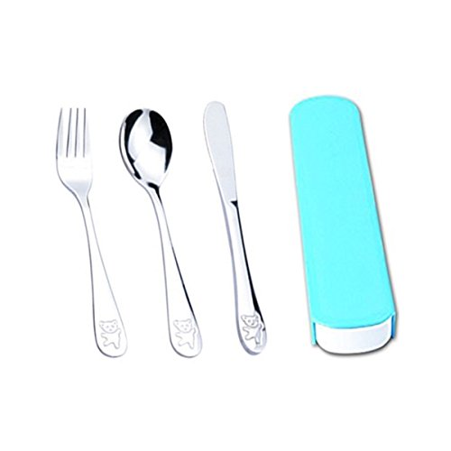 Camping Cutlery Set 3 pieces Stainless Steel Reusable Cutlery Travel Tableware Set With Blue Case (Blue)