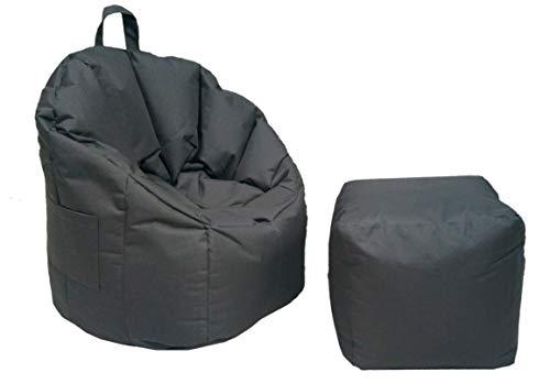 Antarris Premium Sitzkissen Set, Sitzsack mit Tragegriff + Würfel Outdoor Hocker Beanbag, Sitz-Sessel ø 60 H 80 cm bis 120 kg geeignet Gaming-Sitzsack, Kinder-Sitzsack, Outdoor-Sitzkissen Edelgrau