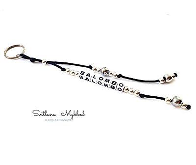 Porte Clés Breloque SALOMBO Personnalisé avec prénom, message, logo (réversible). Bijoux de sac, cartable Cadeau personnalisé pour homme, femme, enfant