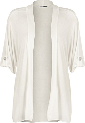 WearAll - Damen Übergröße kurzarm knopf offen Cardigan Top - Weiß - 54-56