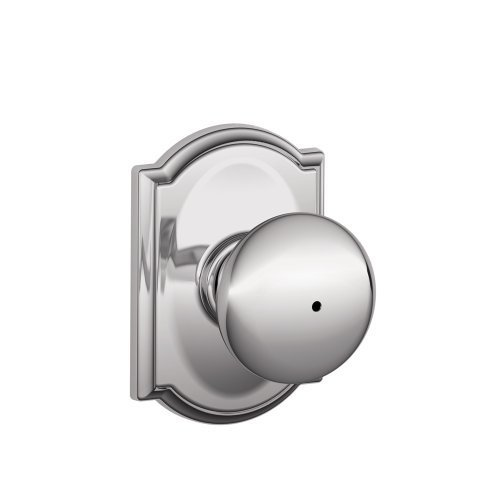 Schlage F40 PLY 625 CAM Camelot Collection Plymouth Privacy Knob, Bright Chrome by Schlage Lock Company (F40 Ply Cam)