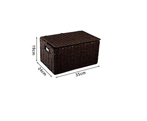 NOHOPE Intreccio Desktop di Storage Box Storage Magazine cestino della paglia (1 File Cassettiera)