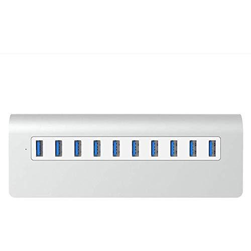 Aigaoji USB-Hub, 10-Port USB-Port Hub HUB USB 3.0 bewegliches Aluminium USB für Apple Mac Laptop Tablet PC F3