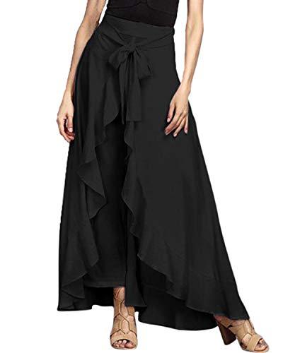 VONDA Damen Hosenrock Rüschen Rock Lange Hosen Hohe Taille Röcke Elegant Freizeithose Schwarz S