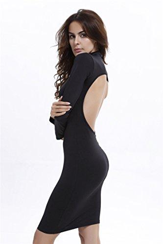 Femme Noir Blanc Robe Mini Bureau Manches Longues Tunique Slim Mince Sexy Pull Dos nu Noir