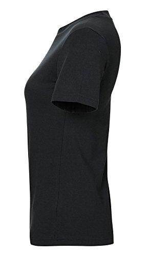 Damen Basic T-Shirt aus 100% Bio-Baumwolle mit Rundhalsausschnitt und bereitem Kragen. Bio Tshirt Kurzarmshirt, Organic Cotton Schwarz