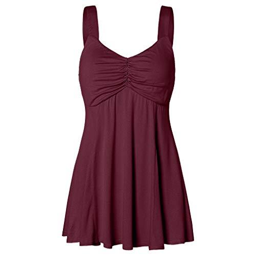 rbe Kurzer Rock Sommerkleid, Mode Plissiert Ärmellos Faltenrock Casual Tank Kleid Blusenkleid Freizeitkleid(Wein,S) ()