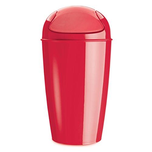 koziol Schwingdeckeleimer 30 L Del XL,  Kunststoff,  solid himbeer rot, 34 x 34 x 64,8 cm (Rote Kunststoff-wäschekorb)