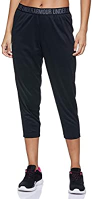 Under Armour Women's Play Up Capri - Solid Tights, Black (Black/Metallic Silver ), S