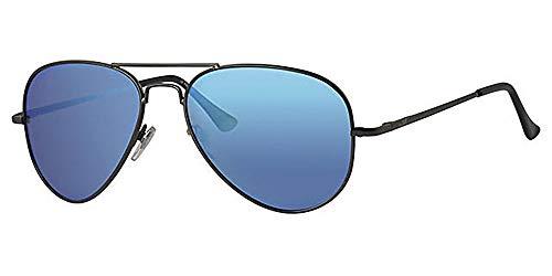 Eyewear World Polarisierte Aviator Sonnenbrille, gratis Beutel & Gelb Halskordel, Spiegelungen blockierende Gläser Blau verspiegelt, Gelenkarme, Made in USA
