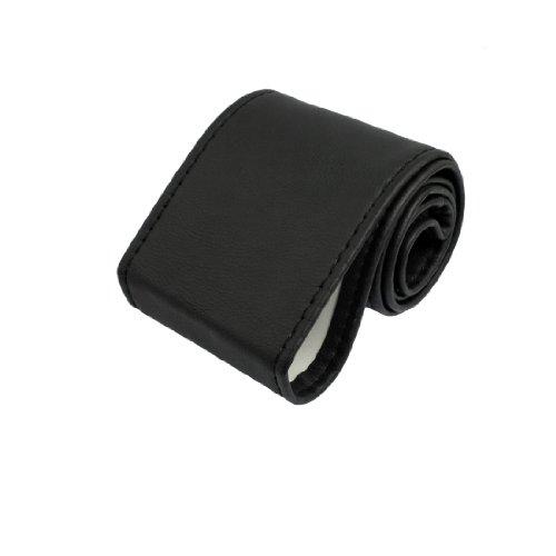 sourcingmap® genähte Säume Litchi Muster schwarz Kunstleder Auto Lenkrad Abdeckung DIY Kit (Kunstleder Genähte)