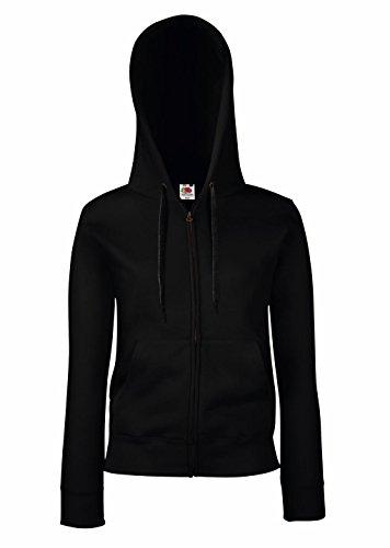 Fruit of the Loom: Lady-Fit Hooded Sweat Jacket 62-118-0 Schwarz (Black 101)