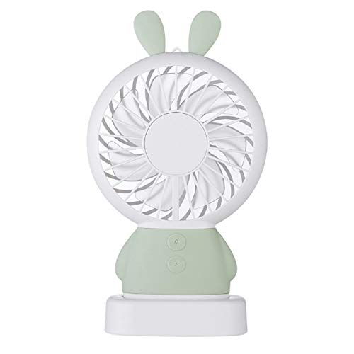 Ruby569y Tragbarer Min Lüfter, Buntes LED-Licht Bär/Kaninchen tragbarer Lüfter Sommertischständer Kühler - grünes Kaninchen * (Bar Wieder Kühler)