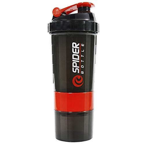 VCB DREI Schichten Flasche Protein Pulver Shake Cup Große Kapazität Übungsflasche - rot