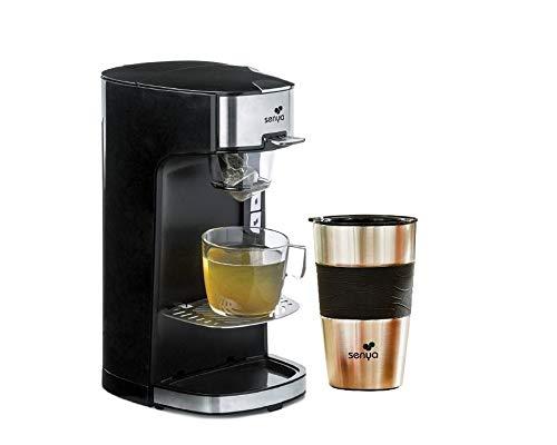 SENYA Machine à Thé Tea Time Théière Électrique Noire 1415W et Son Tea Mug isotherme