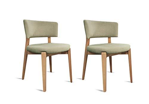 Meubletmoi Chaises Tissus Beige foncé Pieds Bois Massif - Style Classique Contemporain - Confort & Design - Lot de 2 - Pretty
