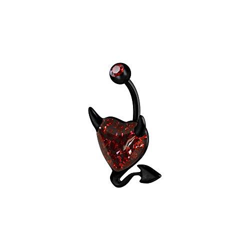 Karisma Piercing de Nombril Cœur Black Devil diable acier inoxydable 316L Sealed de haute qualité avec éléments Swarovski Rouge