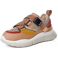 zj Calzado para Niños Calzado Deportivo Ins Super Fire Prácticas de Sellado para Niñas Calzado para Correr Calzado para Niños Zapatillas de Malla Transpirable Salvaje,marrón,36