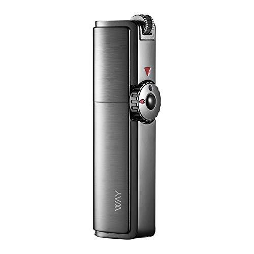 VVAY Jet Flame Encendedor de Cigarrillos de Gas butano Recargable con perforador de cigarros para Hombre (Negro, se Vende sin Gas), Aleación de cinc, Negro, 801