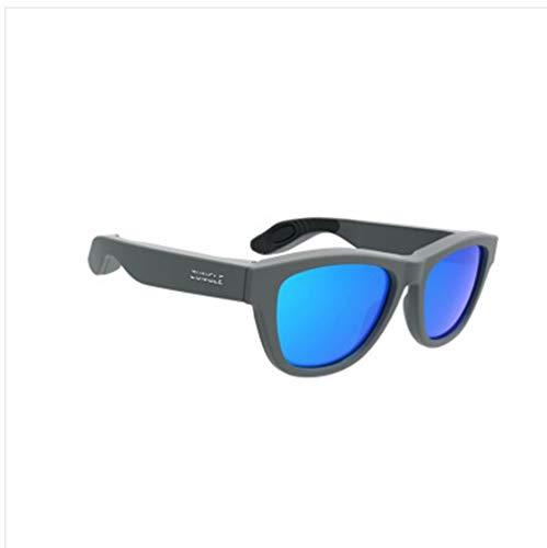 YWYU Knochenleitungs-Headset-Brille drahtlose Bluetooth-Sonnenbrille Europäischer Kopf tragen Ohr-Sport-Ohr-Knochen-Sonnenbrillen Bluetooth-Knochenleitungskopfhörer (Farbe : Gray)