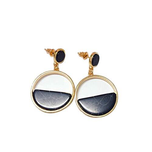 Kaiki Vintage Geometrische Runde Marmor Women Dangle Earrings Baumeln Ohrringe Eardrops Baumeln Ohrbügel Schmuck Geburtstagsgeschenk (Schwarz)