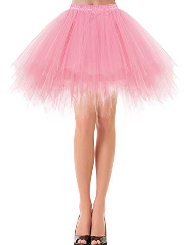 bbonlinedress Kurz Retro Petticoat Rock Ballett Blase 50er Tutu Unterrock Light Coral S