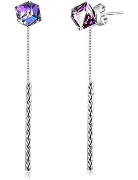 PLATO H Ewige Liebe Tropfen Ohrringe mit Swarovski Kristallen Quaste Ohrringe Bolzen Schmuck Geschenke Blau und...