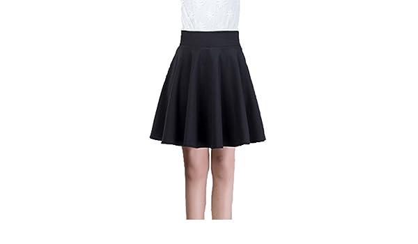 2c82ef4e3334 Xiongfeng® Damen Mädchen Kurz Faltenrock Skater Rock Glockenrock mit Hohe  Taille Schwarz,45,2XL  Amazon.de  Bekleidung
