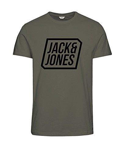 JACK & JONES Herren T-Shirt JCOSATURDAY Tee SS Crew Neck - Slim Fit - Schwarz