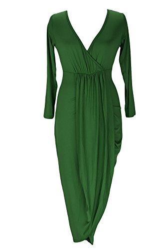 Le Donne Eleganti Con Lo Scollo A V Metà Maniche Alto Basso Irregolare Shirred Wrap Slim Midi Vestito Green