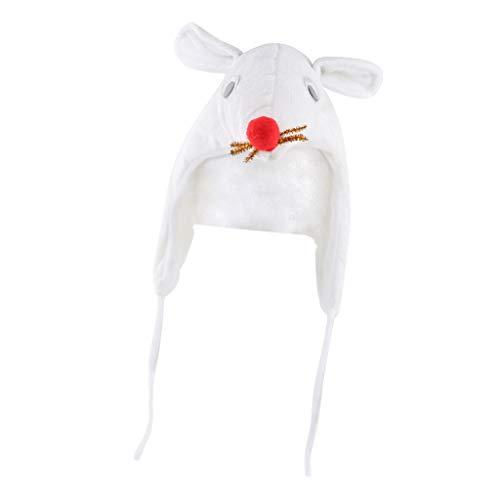 Fenteer Tiermütze Plüsch Hut Kopfbedeckung Weihnachten Halloween Kostüm Geschenk - Weiße Ratte, Einheitsgröße