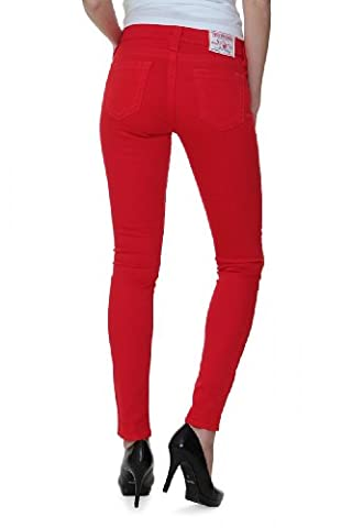 True Religion Jean Skinny HALLE MID RISE SPR SKINN, Couleur: Rouge, Taille: 23