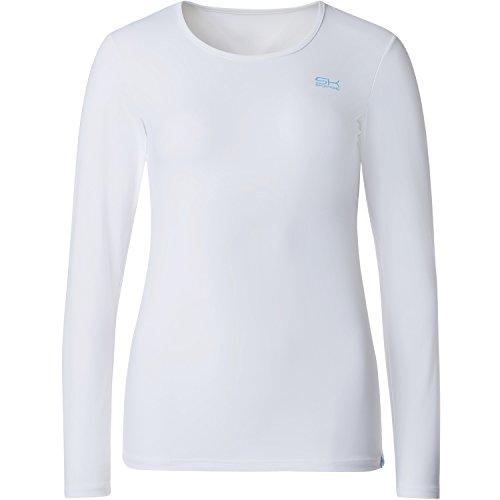 Sportkind Mädchen & Damen Tennis/Running/Fitness Langarmshirt, weiss, Gr. 134