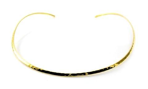 Mgd, 3mm de large martelé Fini Neckwire, Doré Laiton, réglable col ras du cou Taille unique, bijoux tendance pour femme, Je-0081N