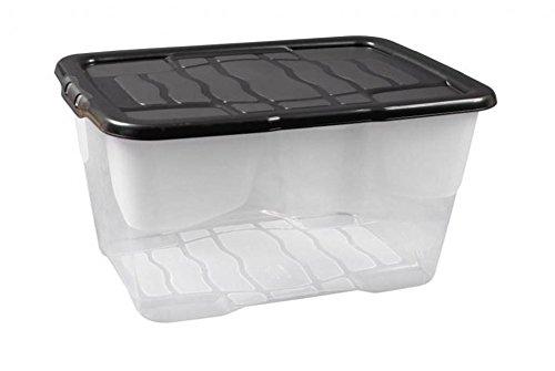 """Aufbewahrungsbox """"Curve"""" mit Deckel aus transparentem Kunststoff. Nutzvolumen von ca. 10 Liter. Stapelbar und nestbar. Maße BxTxH in cm: 27,5 x 35 x 16"""