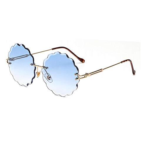 HYUHYU Blume Geformt Runde Sonnenbrille Womens Kreis Brille Männer Getönte Farbe Trendige Klare Randlose Sonnenbrille