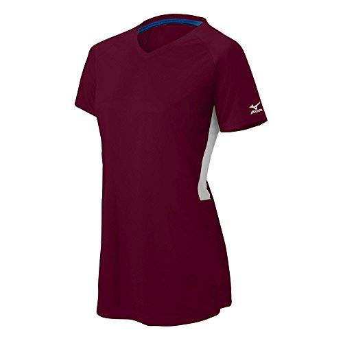 Mizuno Damen Comp Ss V Erwachsene Short Sleeve V-Neck Feuchtigkeitsmanagement Fastpitch Softball T-Shirt, damen, Women's Comp SS V-Neck, Maroon-White (Maroon Softball)
