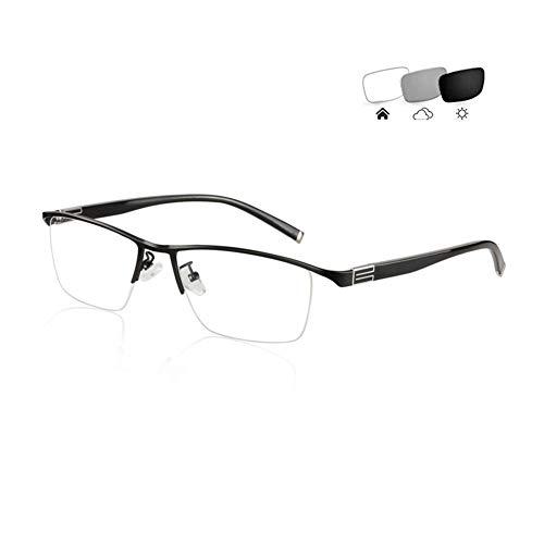 Eyetary Blaulichtfilter Lesebrille Herren Leser - Photochrome Sonnenbrille mit Stärke (+1,00 bis 4,00 Dioptrien) - Linsenindex 1,56 Entspiegelt Brille,Black,+2.5