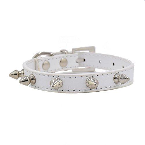 Hundehalsband PU Leder Halsbänder mit Nieten XS bis L wählbar für Kleine Mittel Hunde Katze Welpen Rot Blau Schwarz 8 Farben, Weiß XS