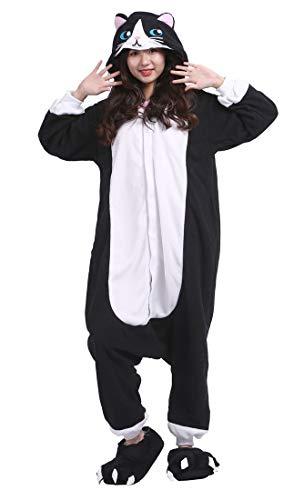 SAMGU Kigurumi Erwachsene Anime Cosplay Adult Tier Onesie Pyjama Schlafanzug Unisex Schwarz Katze ()