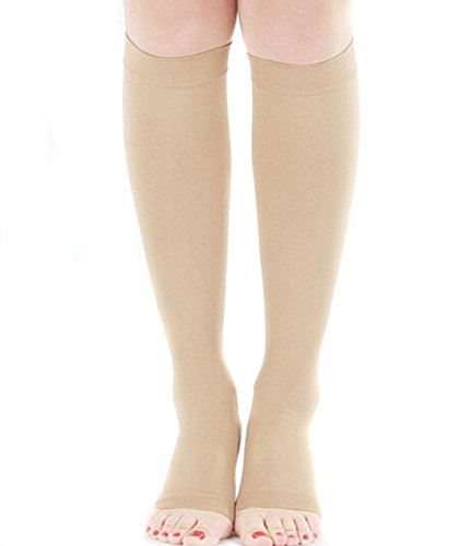 TININNA Medias de compresión de la mujer flexible suave elástico Toeless compresión del calcetín de la pierna Medias Calcetines Sliming Fajas(Desnudo)