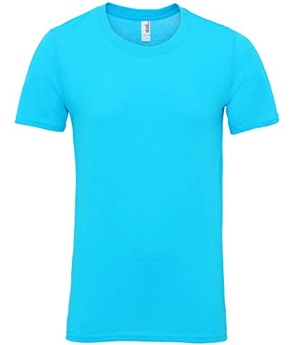 Anvil 980 Herren T-Shirt Regular Fit Rundhals Kurzarm Blau Karibikblau M