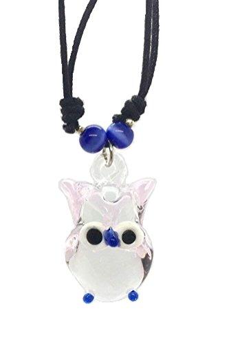 Hand Art Glass, handmade Pink Eule Art Glas geblasen Tier Figur Anhänger Halskette Schmuck–Modell, von Amata Kufu Elegant. (N0049)
