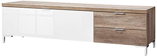 CS Schmalmöbel 45.150.505/023 TV-Board Cleo Typ 20, 163 x 50 x 47 cm, wildeiche / weißglas