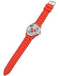GENEVA Mujeres Cristal Goma Silicona Gel Jalea Reloj Rojo
