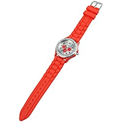 TOOGOO(R) Women's Crystals Rubber Silicone Gel Jelly Watch Red
