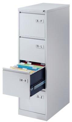Bisley Classeur pour dossiers suspendus - 1 rangée avec 4 tiroirs - gris clair - armoire armoire de bureau armoire métallique armoire pour dossiers suspendus armoires armoires de bureau armoires métalliques armoires pour dossiers suspendus classeur