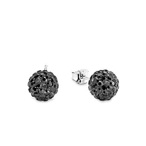 Amor Damen-Ohrstecker 0,8 cm Kugel rund 925 Sterling Silber rhodiniert Kristall schwarz