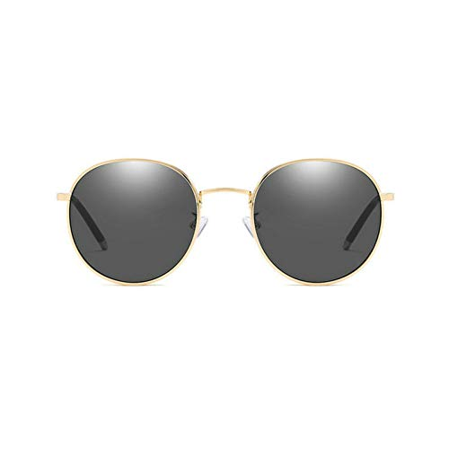 GBST Retro Round Frame Men and Women Sunglasses New Metal Sunglasses Version of The Color Tide Sunglasses UV Glasses,Gold Gray