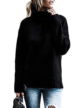 Aleumdr Mujer Jerséis Larga Otoño Jersey de Suelta Punto para Mujer Negro Size M